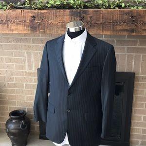 Hickey Freeman mens 40R black pinstripe suit EUC